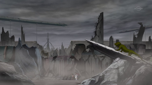 The Lancers wander the ruined streets of Heartland.