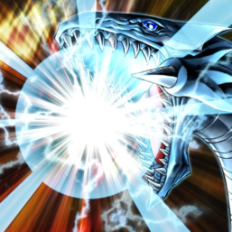 """Blue-Eyes White Dragon"" in the artwork of ""Burst Stream of Destruction"", charging the namesake attack."