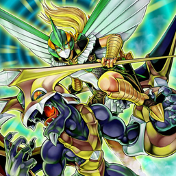 """Dragunity Militum"" equipped with ""Dragunity Phalanx"", in the artwork of ""Dragon Mastery""."
