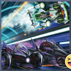 """F.A. Sonic Meister"" and ""F.A. Dark Dragster"" in the artwork of ""F.A. Downforce"""