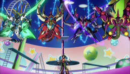 "Yuya Sakaki with (from left to right) ""Clear Wing Synchro Dragon"", ""Odd-Eyes Pendulum Dragon"", ""Dark Rebellion Xyz Dragon"", and ""Starving Venom Fusion Dragon""."
