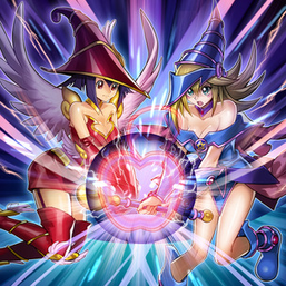 """Apple Magician Girl"" and ""Dark Magician Girl"" in the artwork of ""Magicians' Defense""."