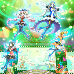"Clockwise, from top right: ""Trickstar Holly Angel"", ""Candina"", ""Lycoris"" and ""Lilybell"" in the artwork of ""Trickstar Light Stage"""