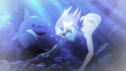 Yujin swims with Iruman.
