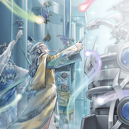 "From left to right: ""Priestess"", ""Sage"", ""Master"" and ""Protector with Eyes of Blue"" in the artwork of ""Mausoleum of White"""