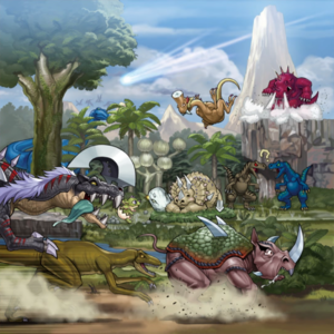 "Various Dinosaur monsters in the artwork of ""Lost World""."